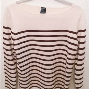 Off-white, red-striped Gap long sleeve